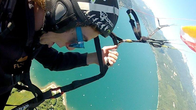 Skier Jeremy Pancras Paragliding