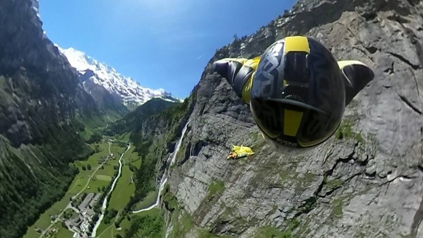 360 VIDEO Wingsuit BASE in the Swiss Alps