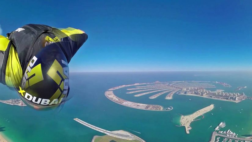 Wingsuit 360 grado video sobre Dubai