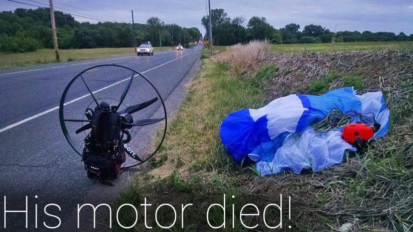 Paramotor Notlandung in einem Maisfeld