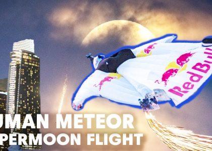 Human Meteor Skydives Through Skyscrapers